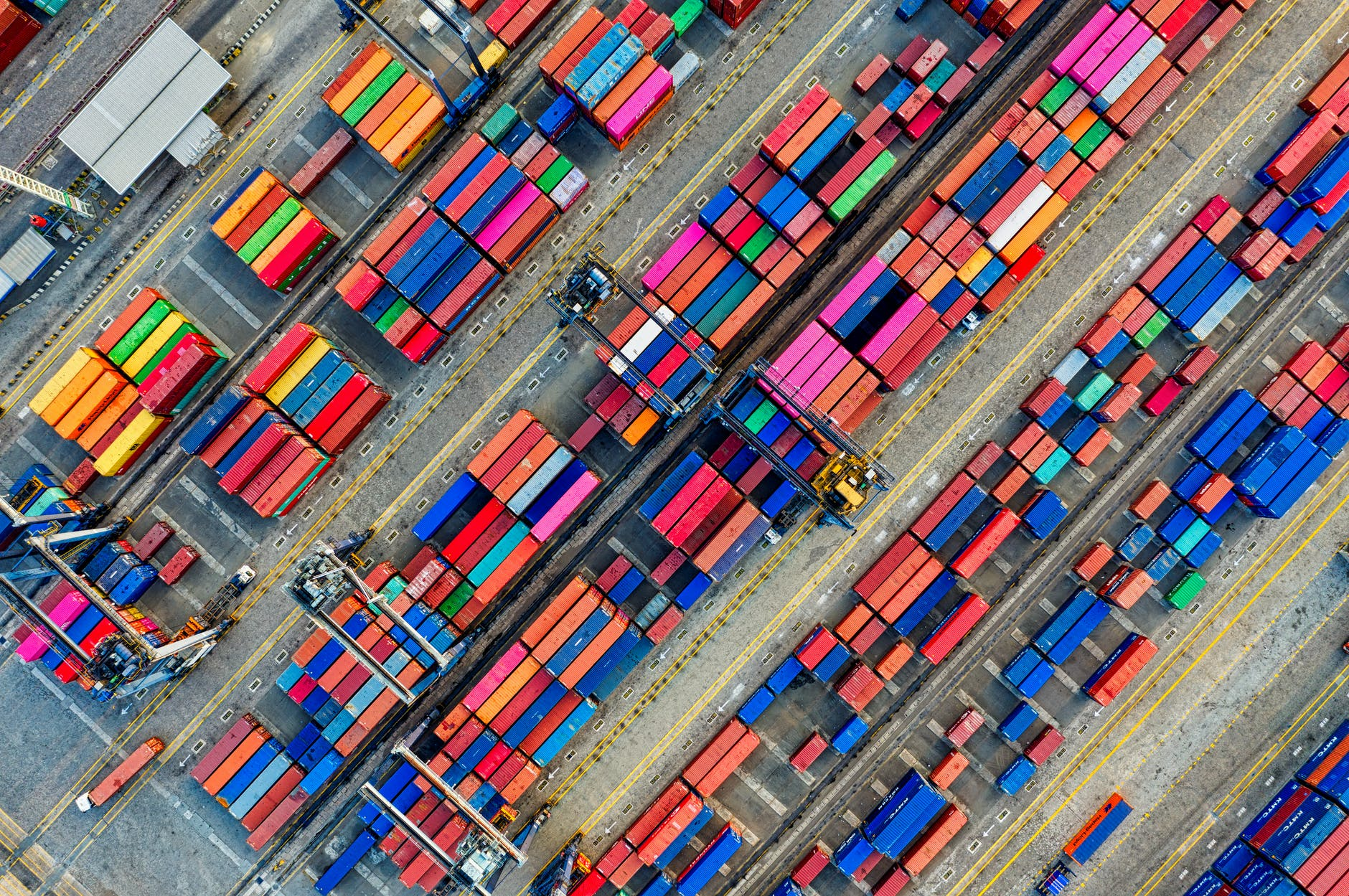 aerial photography of container van lot